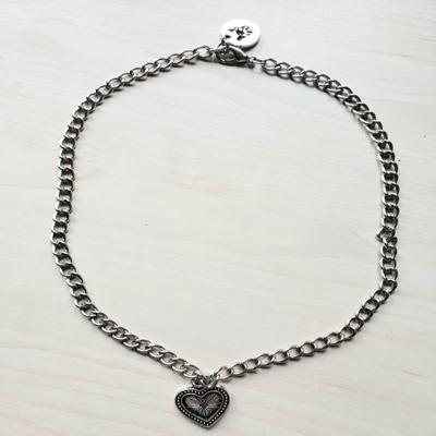 Collar cadena eslabón 40 cm corazón