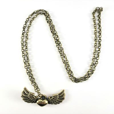 Collar cadena eslabón 70 cm color broce corazón con alas